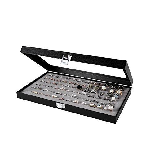 JackCubeDesign Schmuck Ring Display Organizer Aufbewahrungsbox Case Tray Halter mit 72 Slot Ring Display (Schwarz, Innen Grau Samt, 37,3 x 21 x 5 cm) -: MK248C