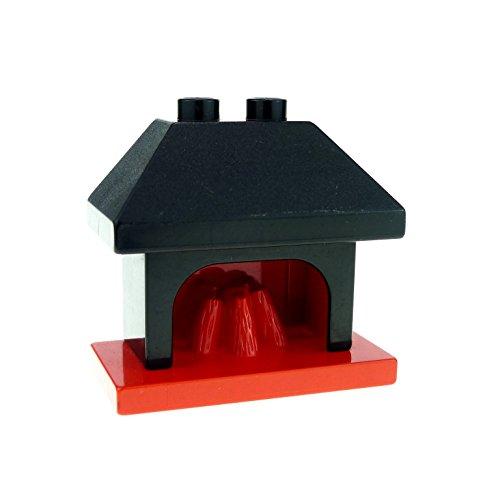 Bausteine gebraucht 1 x Lego Duplo Möbel Kamin schwarz rot Ofen Puppenhaus Spielhaus Wohnzimmer Fireplace 4918