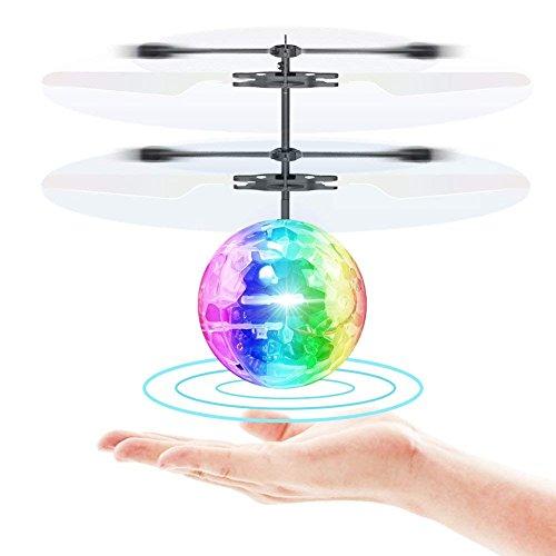 TOYK Fliegender Ball Toys RC Spielzeug für Kinder Jungen Mädchen Geschenke Wiederaufladbare Leuchten Ball Drone Infrarot Induktion Hubschrauber...