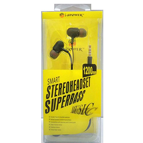 i-SPOWER Smart Stereo Headset Flat tangle-free cables with Super Bass Music Universal supported 3.5MM Hi-Fi Noise-Isolating In-Ear Piston Earphone with in line Mic - compatible with Samsung, Coolpad, Xiaomi, Redmi, Sony, Lenovo, Vivo, Gionee, Oppo, Micromax, Intex, Lava, LG, Nokia, All Apple & Android phone series and Tablets, MP3 Players, Laptops and Desktop & Gaming Console - i-SPOWER-HS-067-BLACK  available at amazon for Rs.249