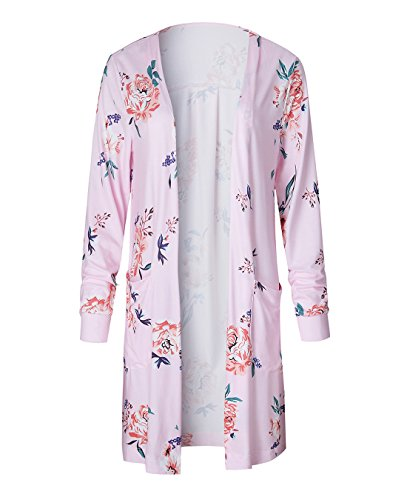 FASTYLING Women Casual Cardigan Long Sleeve Kimono Irregular Floral Printed Coat Tops Outwear Rosa