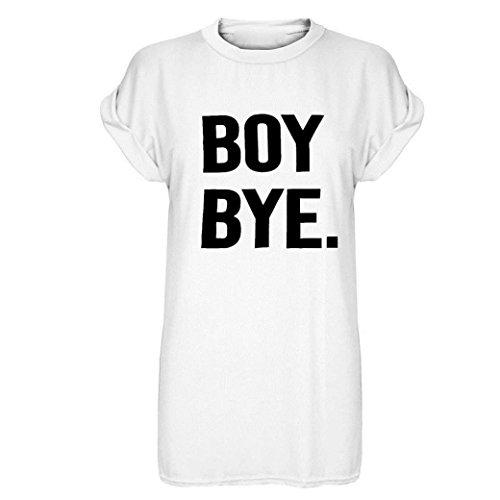 OSYARD Neu Damen O Neck Damen Schwarz Boy Bye Turn up Kurzarm T-Shirt Top Kleid(EU 42/M, White)