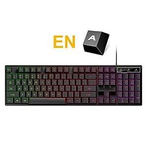 XiY RGB Kabel Laptop Ergonomischer Computer-Maschine Legierungsplatte Gaming-Tastatur-Taste 104 Standardlayout Mechanischer Schlüssel 19 Sinn Anti-Geist-Spiel Metall-Tastatur