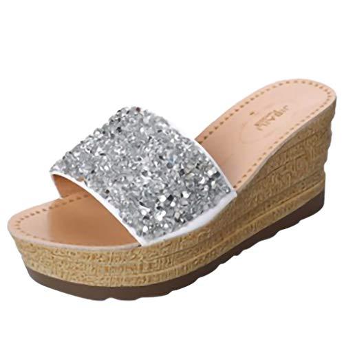 TUDUZ Damen Sandalen Damenmode Sommer Sandalen Strass Casual Strand Hausschuhe Schuhe Mary Jane Halbschuhe(38EU,)