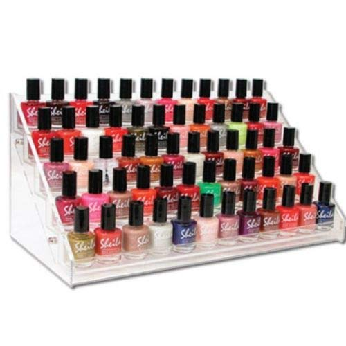 Generic 60 Bottles 5 Rack Makeup Acrylic Case Stand With Support - Transparent (Only Box/Case And No Makeup Items)