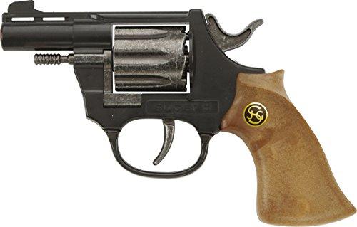 J.G.Schrödel Super 8: Spielzeugpistole für das Cowboy- und Sheriffkostüm, ideal für Fasching, auch als Indianer-Accessoire, 14.5 cm, schwarz (102 0108)