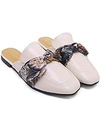 Onfly Mules Cool Slippers mujeres bomba punta estrecha tacón plano Bowknot zapatos de vestir zapatos casuales...