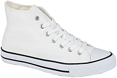 Canvas Baseball Boots in Black Navy White Sizes 7 8 9 10 11 12 (7, White)