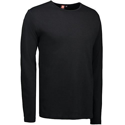 ID Herren Interlock T-Shirt langarm (L, schwarz)