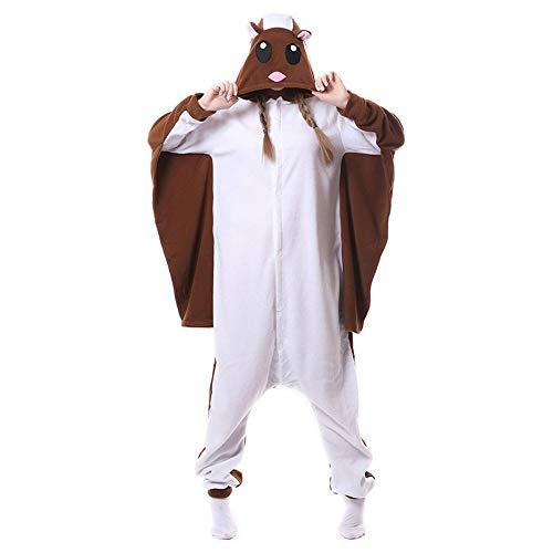 DASENLIN Pyjama Kostüm Cosplay Jumpsuit Overall Fluffy Eichhörnchen Cartoon Cartoon Herren-Langärmeligen Winter Fliegt, M