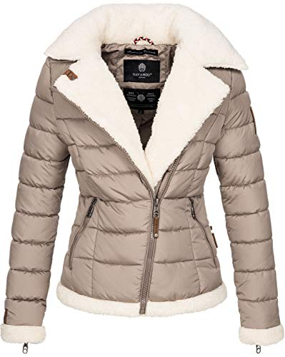 Navahoo Damen Designer Winter Jacke warme Winterjacke Steppjacke Teddyfell B652 [B652-Smooth-Taupe-Gr.M]