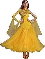 6e305138855b CX Danza Andando Valzer per Le Donne Prestazioni Costumi Nazionali Vestito  da Ballo Maniche in Pizzo