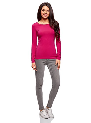oodji Collection Femme T-Shirt Manche Longue (Lot DE 2) Rose (4701N)