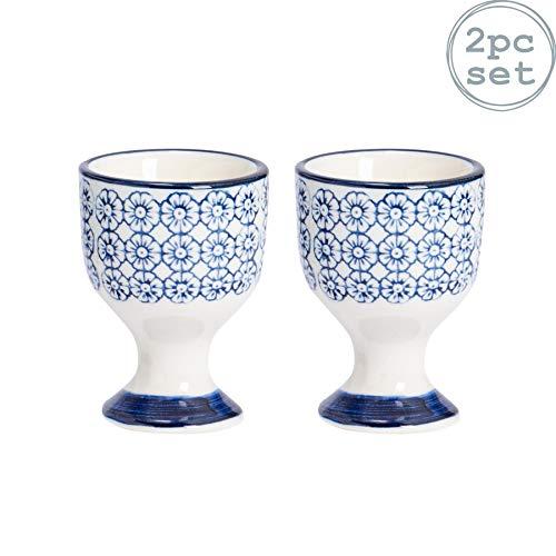 Nicola Spring Coquetiers en Porcelaine - à Motif Floral Bleu - Lot de 2