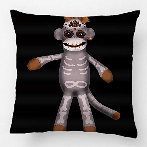 Dekokissenbezug DekokissenüberzugCotton Polyester Sofa Chair Seat Square Kissenbezug Design mit Socke Monke Sugar Skull Tag der Toten Benutzerdefinierte KissenbezugGroße Zoll 18