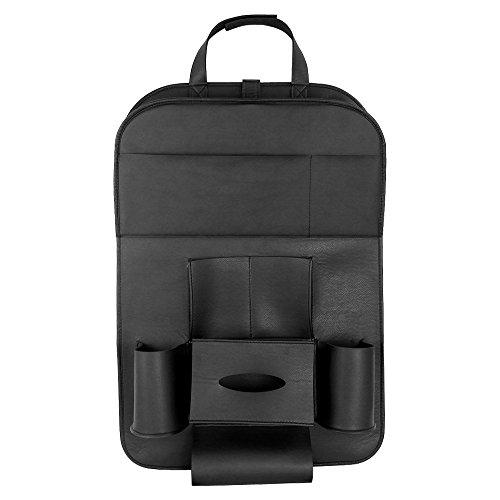 HCMAX 1 Pack Luxus Auto-Rückenlehnenschutz Autositz-Zurück-Organisator Faltbar Esstisch Halter Tablett Multifunktional Schutz Aufbewahrungstasche Trittmatte Reisezubehör PU-Leder