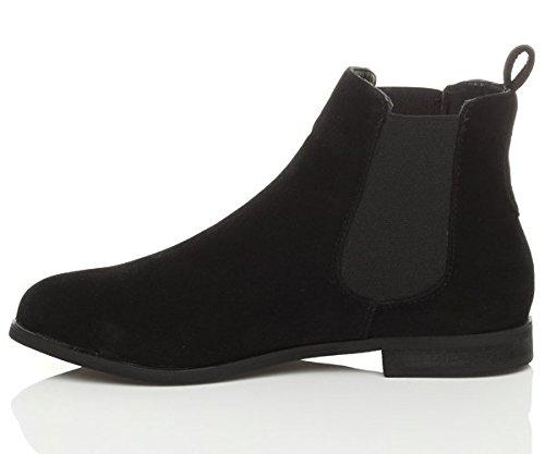 Ajvani Chelsea - Stivaletto da donna con tacco basso, materiale elastico nei lati Nero (In camoscio nero)