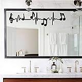 Qbbes 16 * 58 Cm 2 Unids, Notas De Piano De Música Electrocardiograma Arte Tatuajes De Pared Para La Sala De Estar Dormitorio Decoración De Pared De Fondo