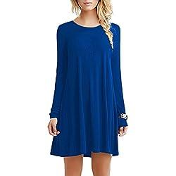OMZIN Frauen Langarm-beiläufige lose Feste Plain Dress T-Shirt Kleid blau L
