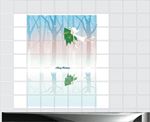 Fliesenaufkleber Fliesentattoos für Bad & Küche - Küchenfliesen 110x110 cm - Fließen Wunschgröße - MF188 - Weihnachten Schattierungen