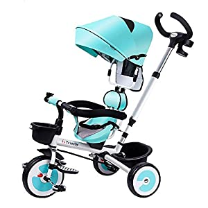 Baby Tricycle 4 in 1, Children Tricycle, Stroller Detachable Canopy Ride Adjustable Seat, Retractable Footrest and Anti-Slip Pedals Metal Frame for Kids Age 1 to 5, Blue zhaoyun   9