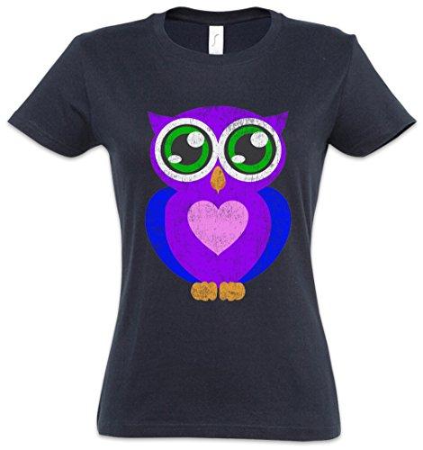 Comic owl woman girlie donna t-shirt - cartone animato gufo eule cartoon cute hipster indie electro tattoo rockabella burlesk pinup taglie xs - 2xl