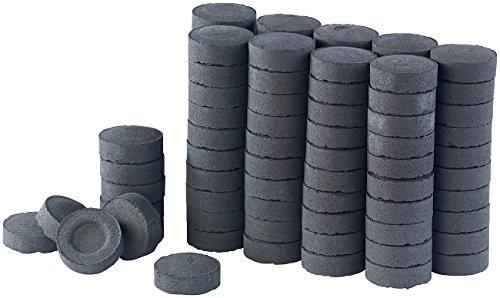 Duvence Kohle mit Kohleanzünder: Selbstentzündende Shisha-Kohle, 10 Rollen mit je 10 Briketts, 750 g (Kohle aus Bambus- und Kokosschale) -