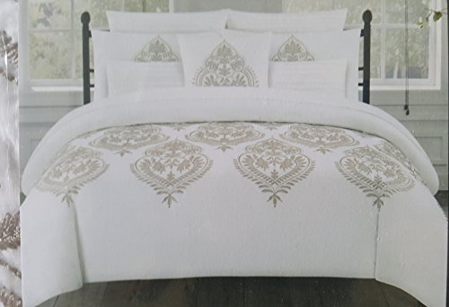 Tahari Home marossy Bestickt Damast Medallions 3-Teiliges King Bettbezug-Set Taupe, Weiß - Ralph Lauren-cover-set