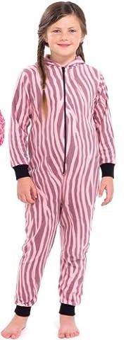 Filles Enfant Kids VACHE / ZEBRA Polaire Une Piece Onesie All In One Nuit Pyjama Playsuit Survetement …