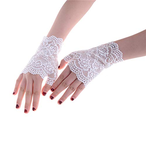 Caowenkang Mittens Bridal Gloves Wedding Gloves Lady Women Lace Driving Sunscreen Glove Length,Weiß -