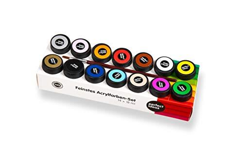 perfect ideaz 14 Töpfe á 18 ml Acryl-Farben-Set bunt mit Pinsel, 14 Basic & Metallic Kreativ-Farben, hoher Anteil an Farb-Pigmenten, acrylic paint hoch-deckend & schnell-trocknend zum Malen & Zeichnen