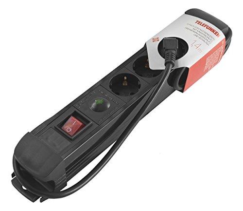 Telefunken ES415PS 4-fach Steckdosenleiste (mit Kinderschutz, Überspannungsschutz und Ein-/Ausschalter, 1,4m)