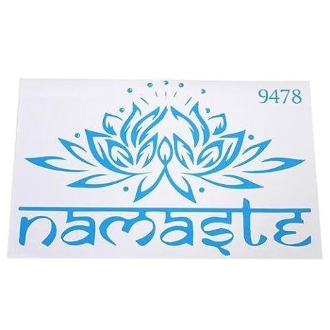Yingwei Blue Lotus Flower Decal Yoga Namaste Mandala Wall Stickers