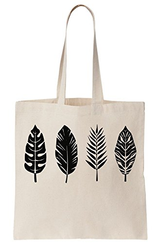 White Canvas Tote Bag (Palm Leaf Bird Feather Graphic Canvas Tote Bag)