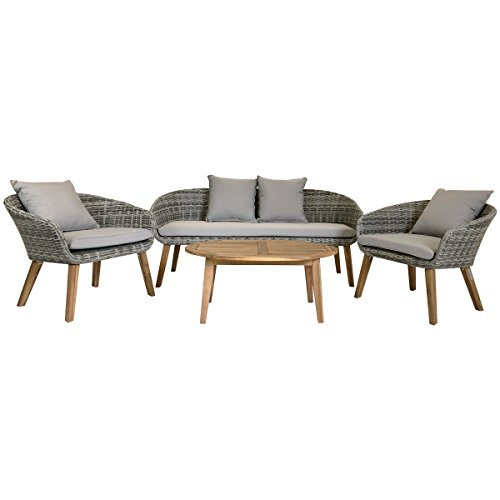 Charles Bentley Lounge-Set aus geflochtenem Madrid Madrid mit Couchtisch, Zwei Sesseln und Sofa