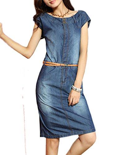 Tjhanhai Damen Denimkleid Ärmellos Lange kleider Frühling Sommer Hemdkleid  Knielange Blusekleid mit Gürtel Bodycon Partykleid Schlank df5fe8a973