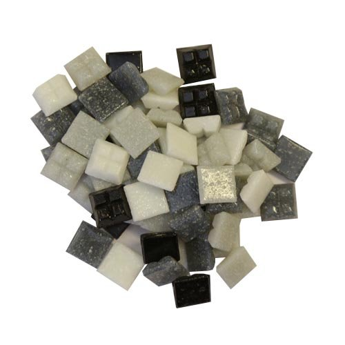 Vitreous glass tiles 1cm x 1cm x 4mm for mosaics art & craft - 200 gram pack (approx 300 loose tiles) (Monochromatic Mix)