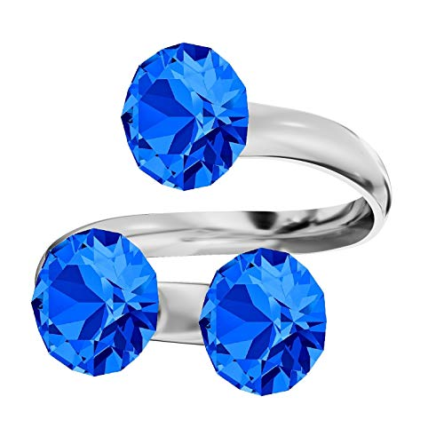 **Beforya Paris** Ring Dreifach *XIRIUS* *Viele Farben* Swarovski® Elements - 925 Sterling Silber Damen Ring Größe Verstellbar! Sheer elegante Ring! PIN/75 (Capri Blue) -