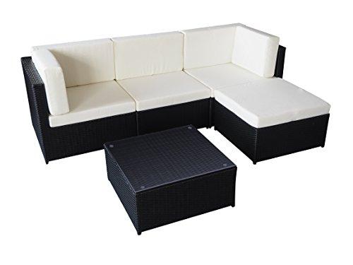 Guaranteed4Less Rattan Garden Furniture Patio Corner Sofa Set Lounger Table Outdoor Conservatory (Black)