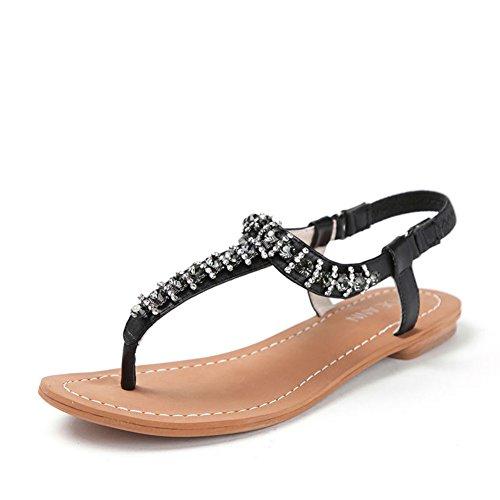 Infradito estate/Sandalo basso scarpe strass Nero