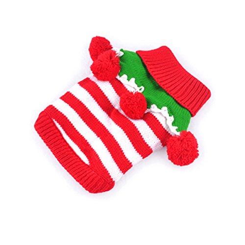 Imagen de petcute navidad perro gato mascota suéter prendas de punto ropa de calle disfraces vestir con collar de bolas ropa de invierno cálido