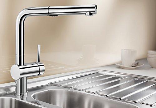 Blanco Linus-S Vario, Küchenarmatur - Einhebelmischer mit ausziehbarer Schlauchbrause, umschaltbar von Strahl auf Brause, Oberfläche chrom, Hochdruck, 1 Stück, 518406