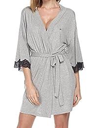 Mxssi Bata de Encaje de Encaje Mujeres Kimono Corto Bata de baño Mujer Sexy Encaje Ropa