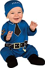 Rubie's Costume Baby's First Halloween Policeman One-Piece Printed Jumper Hat and Booties, Blue, 0-6 Months