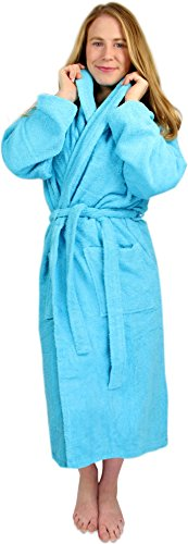 Circle Five Damen Bademantel, Sauna-Mantel, Morgenmatel aus 100% Baumwolle Oeko-Tex 100 [Gr. XS-4XL] Farbe Türkis Größe S