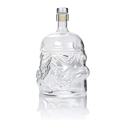 Qinmay Vodka-Flasche mit Glaskopf, kreatives Gothic-Wein, Wodka-Dekanter, weiße Soldaten, Glasflaschen, Weinflaschen, Kristall, Vodka-Flaschen, Bierflaschen, Totenkopf- und Flaschenbehälter, 750 ml