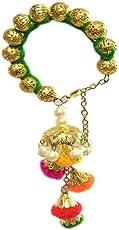 Loops n knots Green with Multicolour Thread Charm Lumba Rakhi for Girls