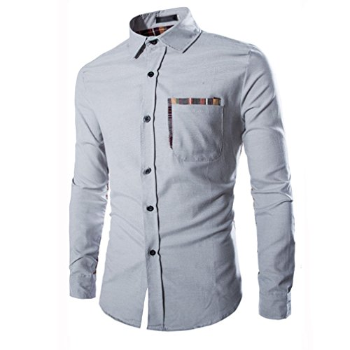 Honghu Homme Casual Slim Fit Joker Grille Manches Longues Chemise Gris clair