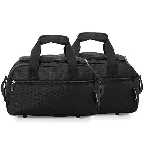 Aerolite Sac de Voyage Ryanair 35x20x20cm Bagage Cabine Dimensions Maximales (2 x Noir)