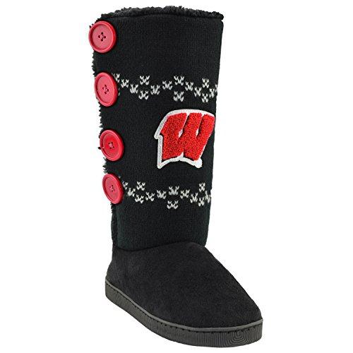 College Edition NCAA Damen Stadium Boots Button Up, schwarz, Small